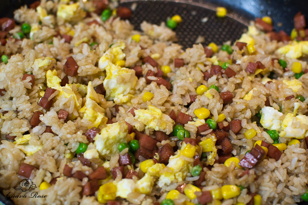 Spam fried rice in pan