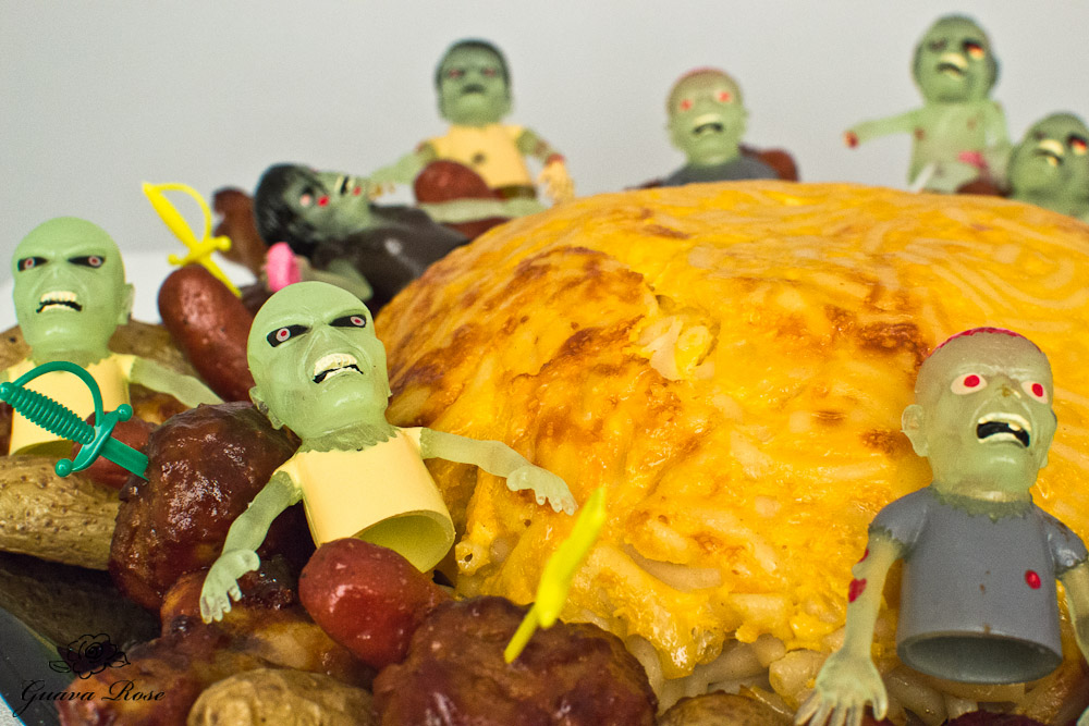 Zombies on one side of mac and cheese brain