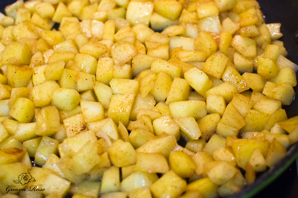 Sauteing diced apples