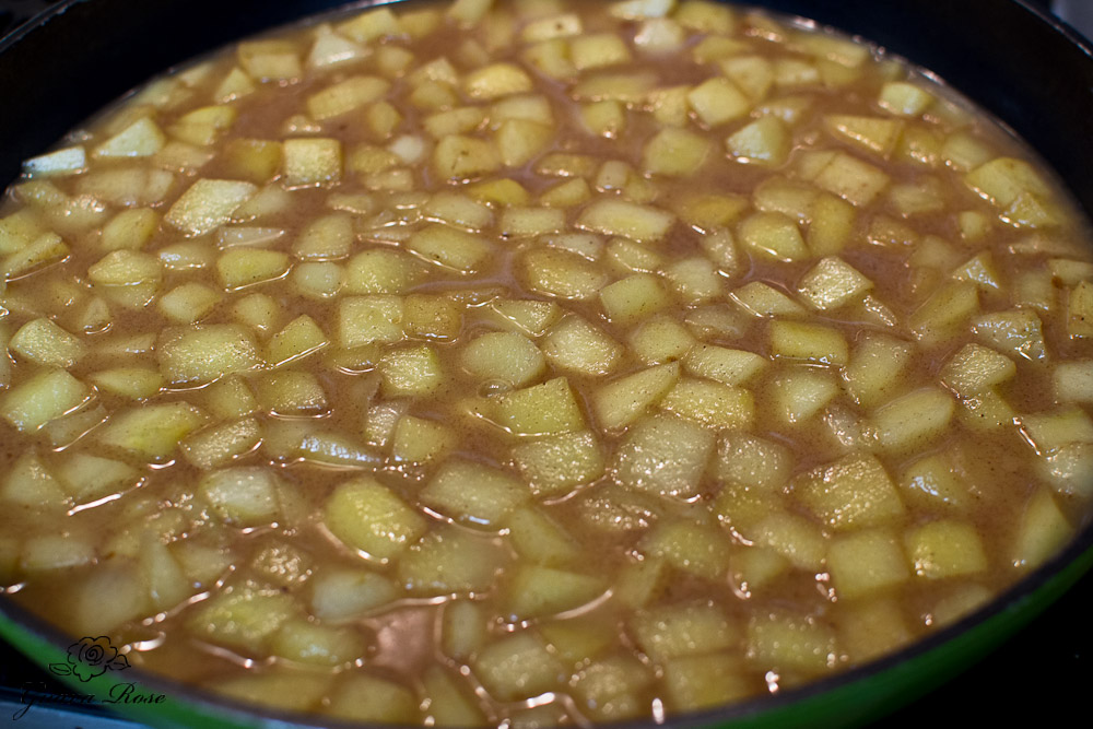 Liquid added to sauteed apples
