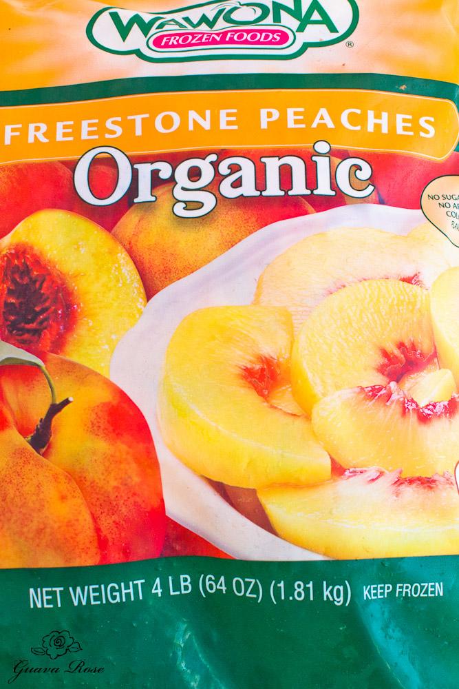 Bag of frozen organic peaches