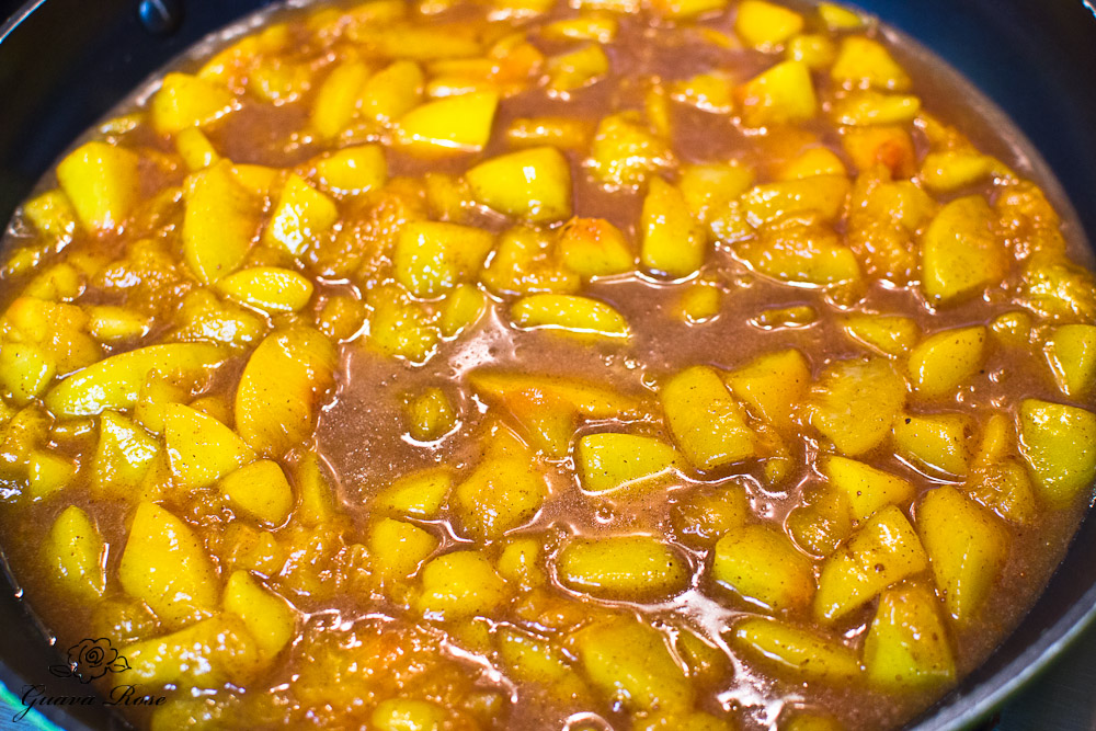 Defrosted diced peaches before thickening