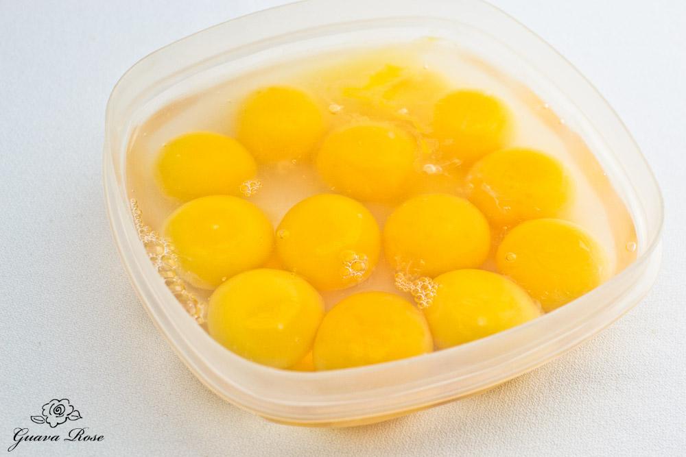 Egg yolks in water