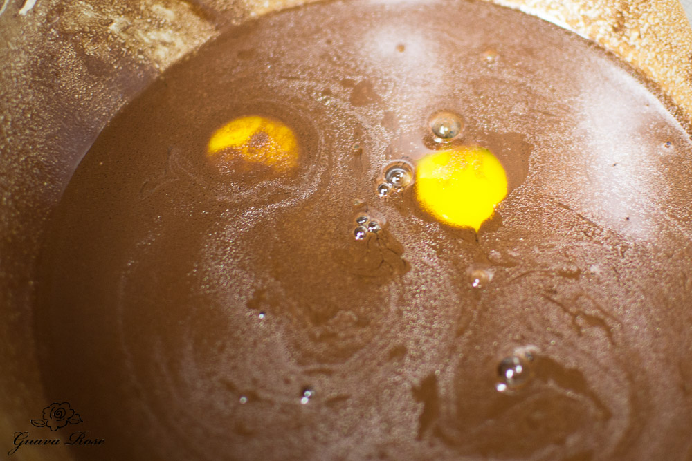 Eggs and vanilla added