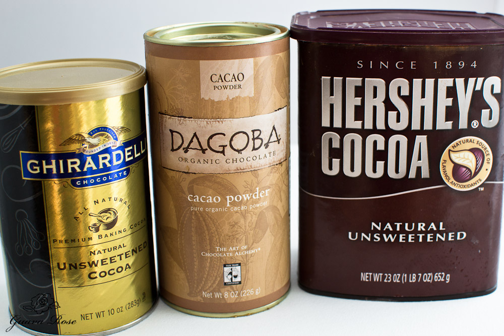 Different brands of unsweetened cocoa
