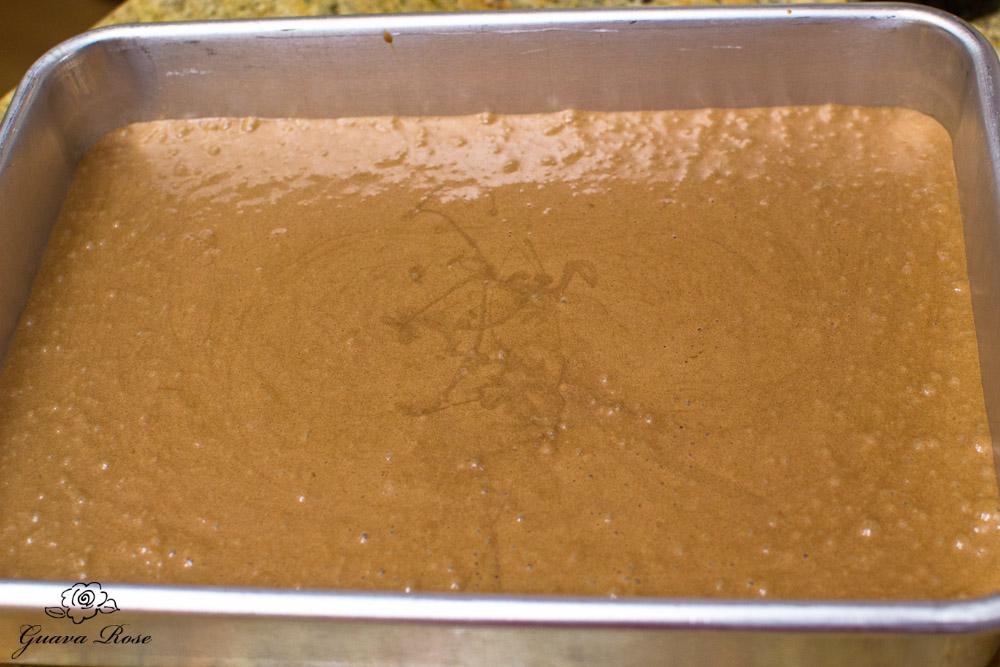 Chiffon cake batter in baking pan