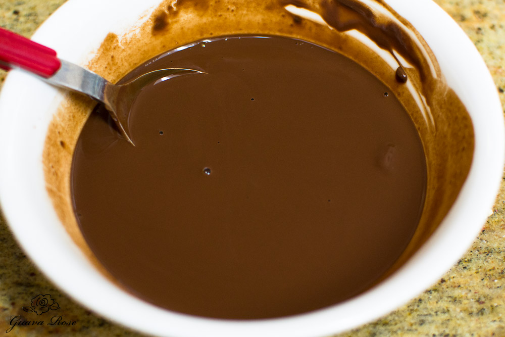 Cocoa powder mixed with hot water