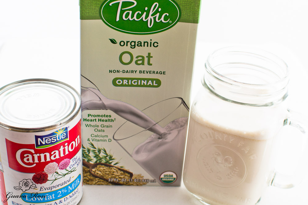 Evaporated milk, boxed oat milk, fresh oat milk