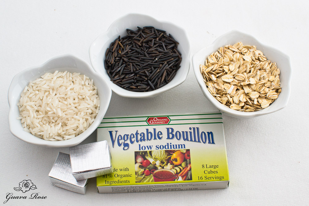 Long grain rice, wild rice, rolled oats, vegetable bouillon