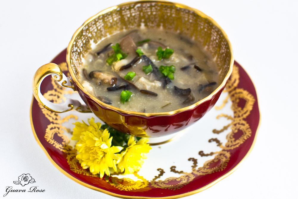 Wild Rice, Leek and Mushroom soup in red tea cup