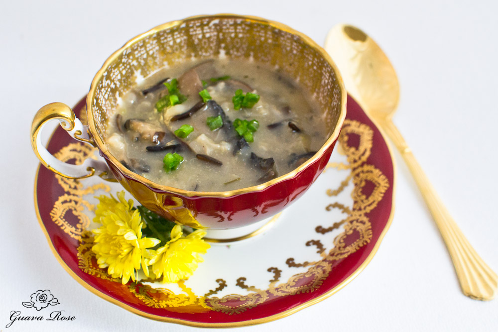Wild Rice, Leek and Mushroom soup in red tea cup w/spoon