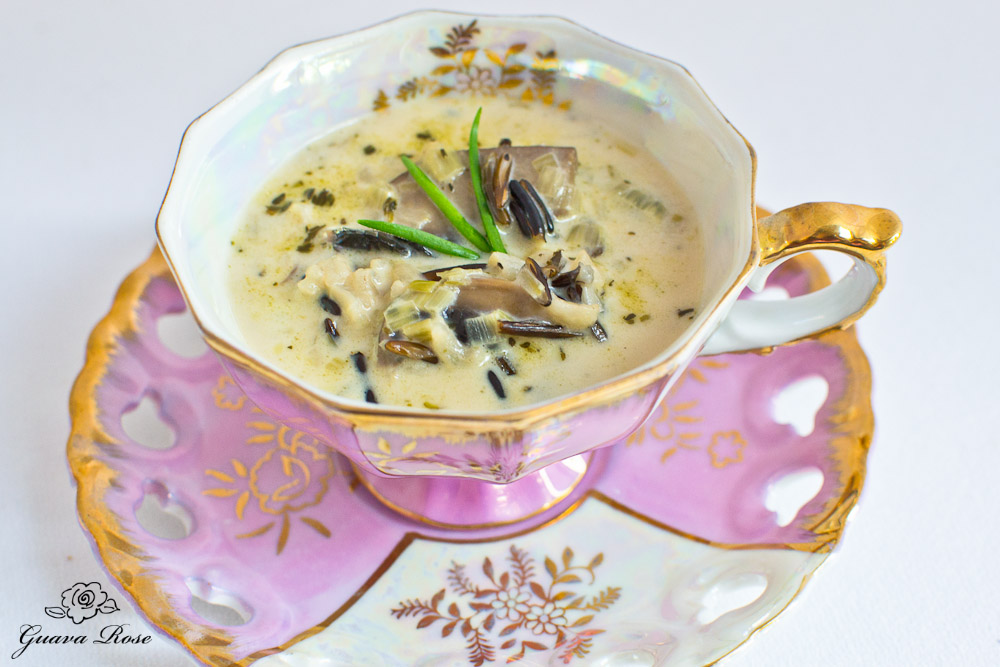 Wild Rice, Leek and Mushroom soup in pink  tea cup , top side view