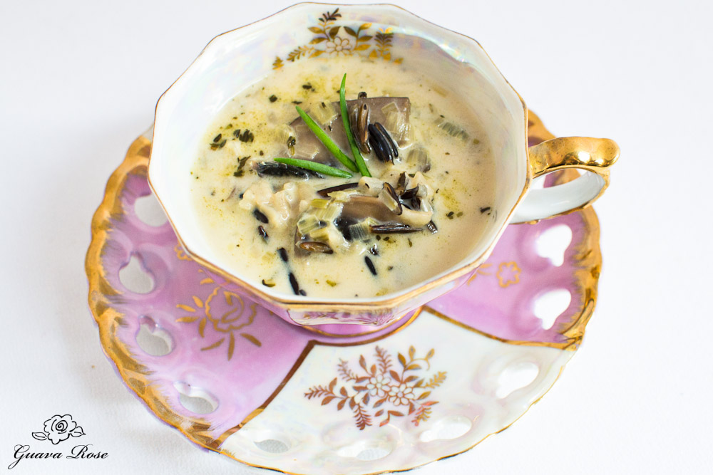 Wild Rice, Leek and Mushroom soup in pink  tea cup , top  view