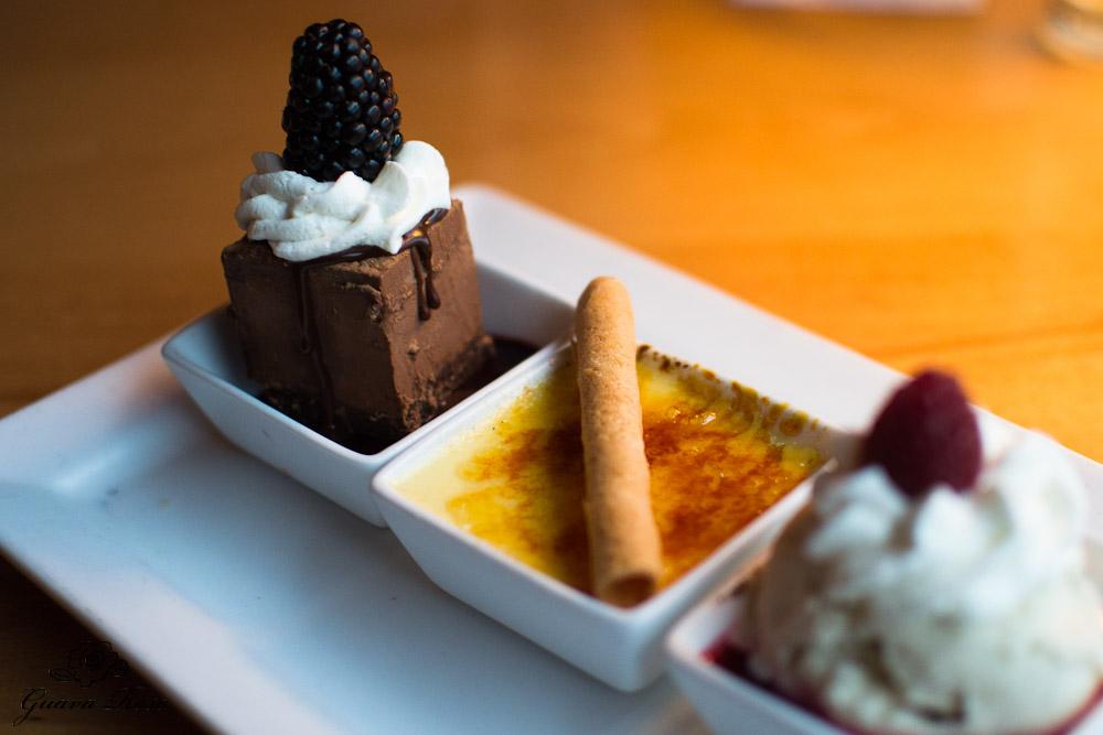 Dessert Trio : triple chocolate seduction, crème brulee, and raspberry jack