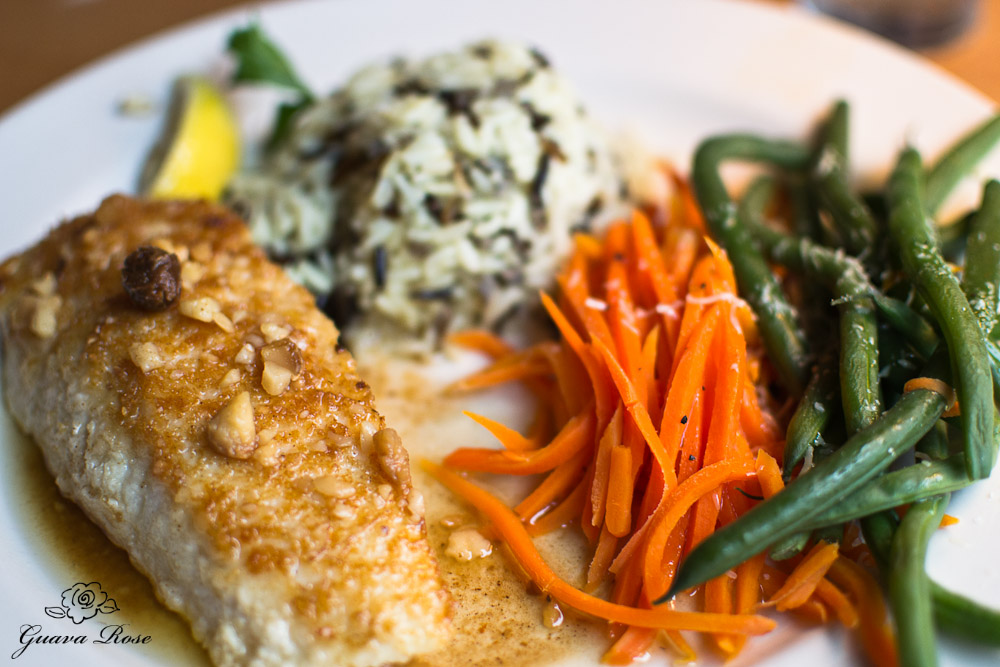Macadamia Nut Crusted Alaskan Halibut brown butter, lemon-chive rice pilaf