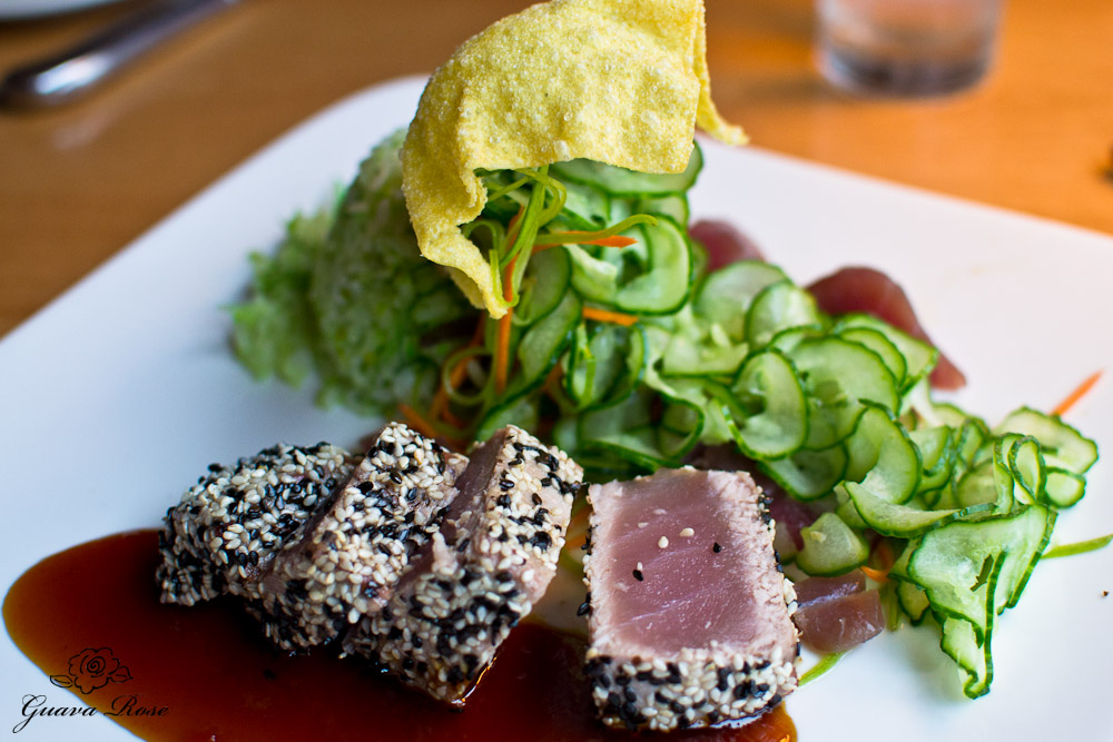 Ahi Tuna Two Ways: sesame crusted, seared rare, wakame sticky rice, lime marinated sashimi and cucumber salad