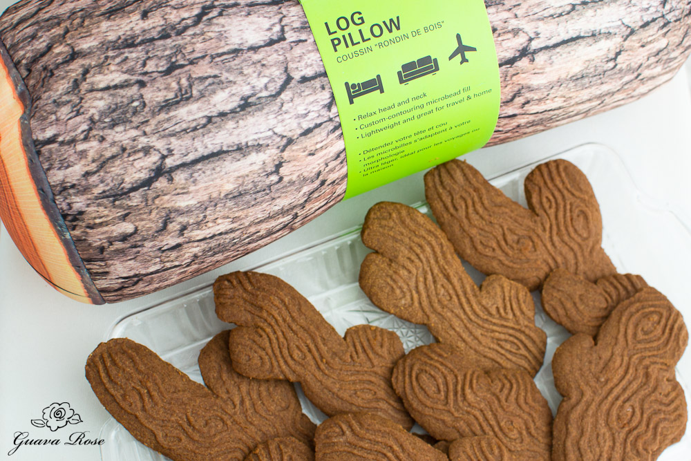 Tree branch cookies and log pillow,top view