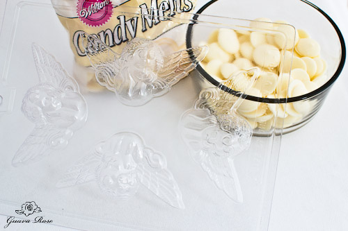 White candy melts and angel candy mold