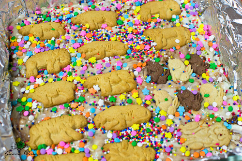 Pan of animal cracker fudge
