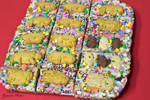 Animal cracker fudge, unmolded and cut
