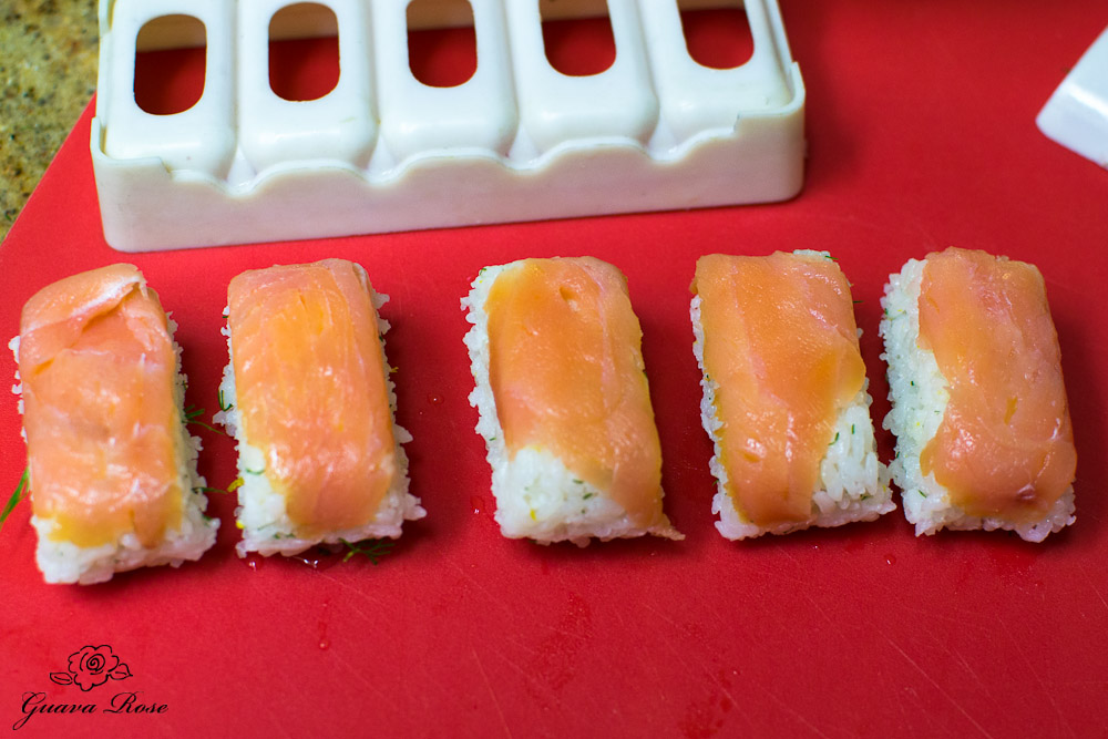 Unmolded smoked salmon musubi