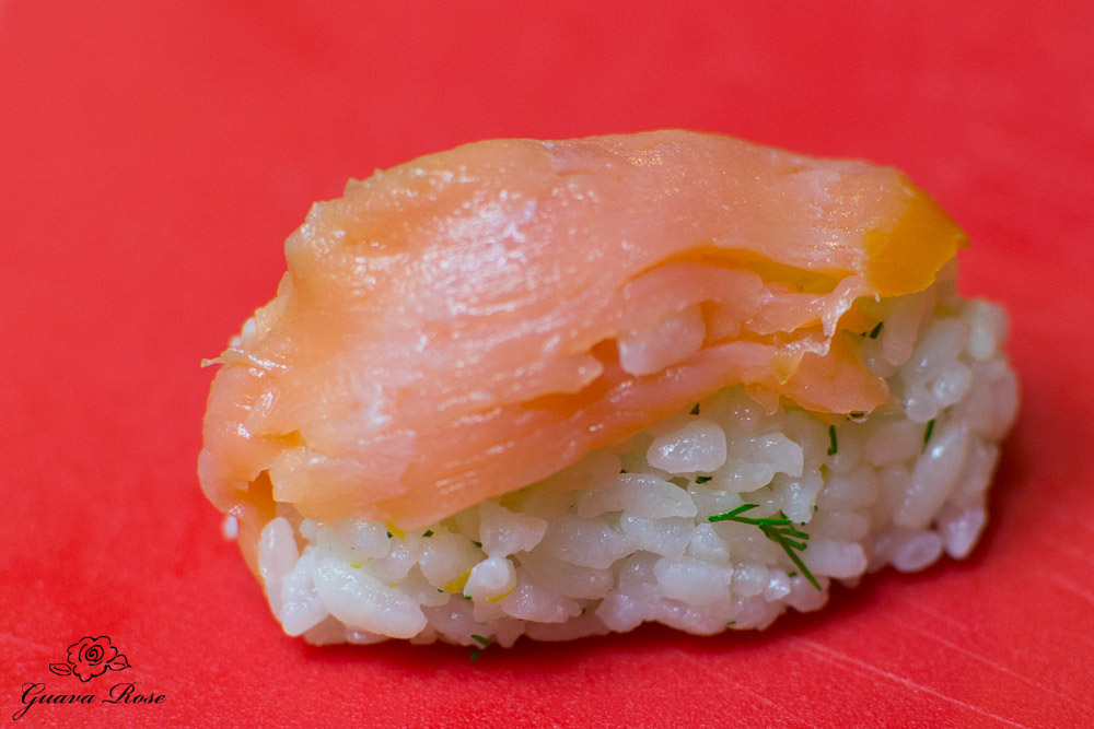 Hand molded smoked salmon musubi