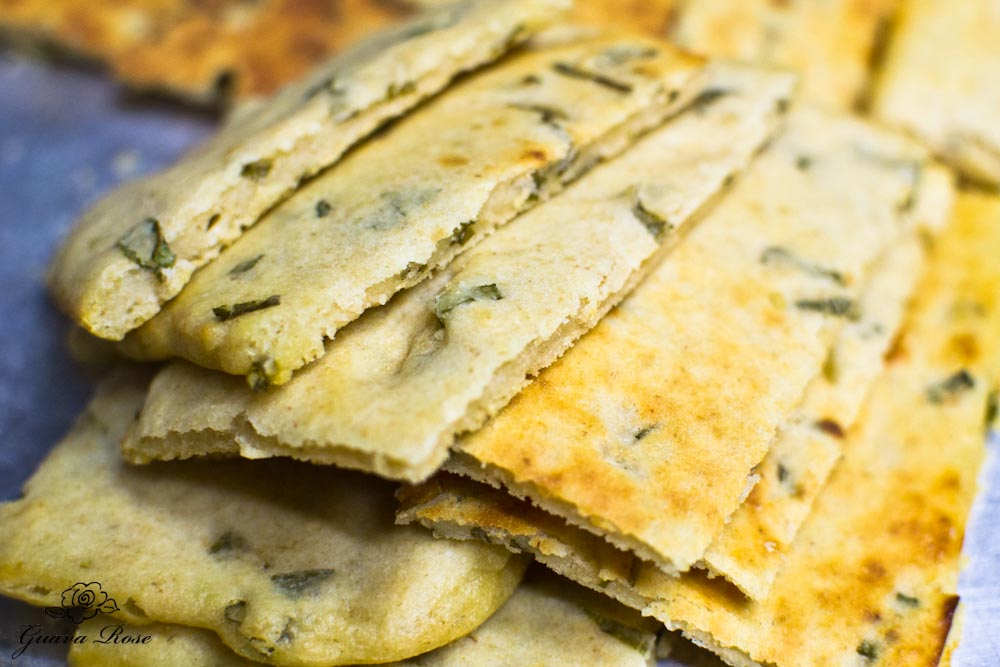 Buttermilk scallion flatbread on baking sheet