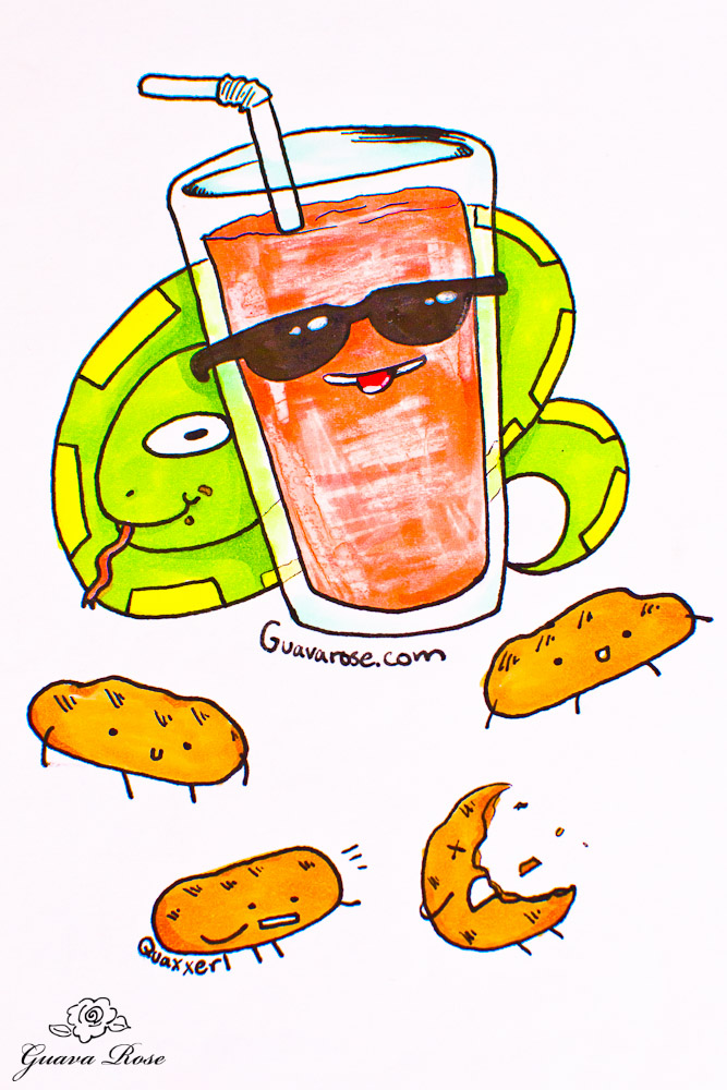 Year of the Snake with sunglassed drink and cookies