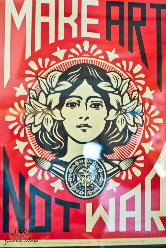 Make Art Not War poster at Star Noodle
