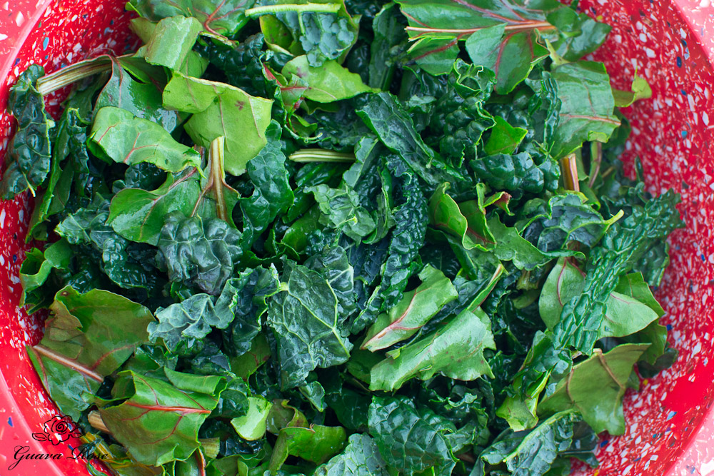 Kale and beet greens in bowl