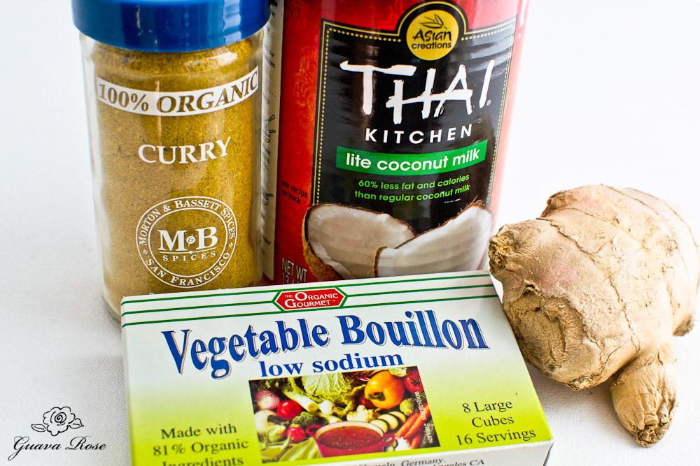 Curry powder, coconut milk, low sodium bouillon, ginger