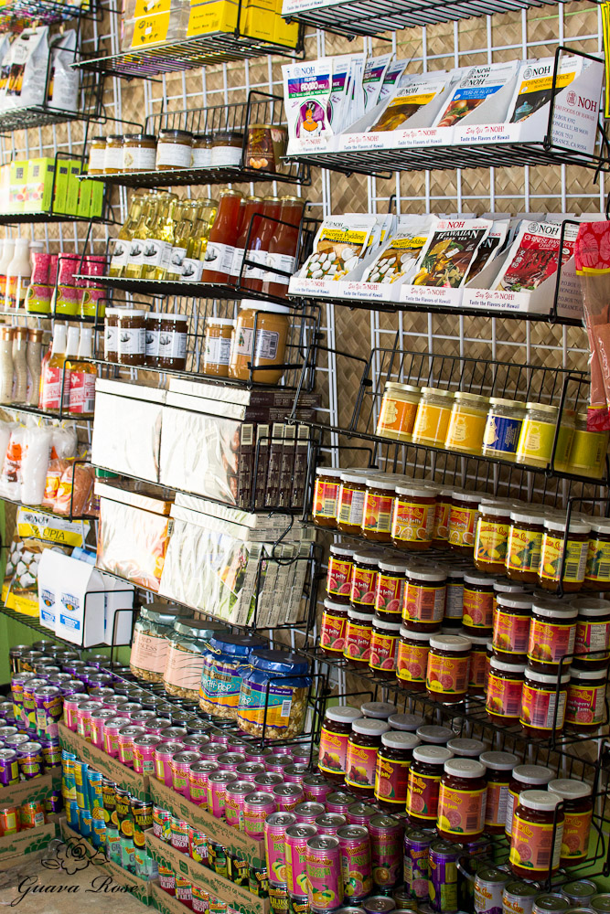 Aloha Warehouse wall of jams, sauces, drinks