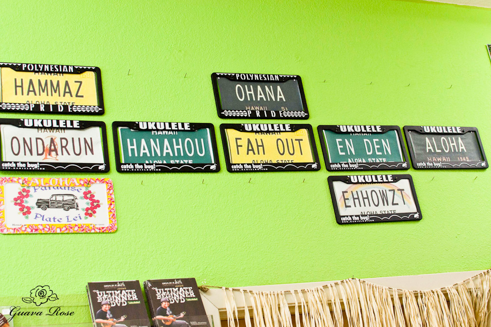 Wall of Pidgin license plates