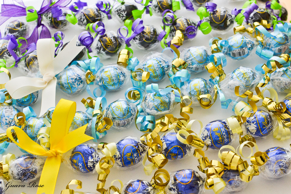 Blue & Gold, Powder Blue & Gold, and Purple and LIme Green Candy Kukui Nut Leis