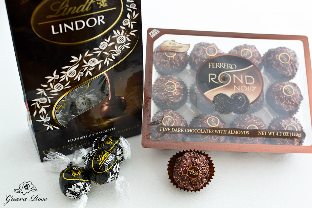 Black Lindt Lindor Truffles and Ferrero Rond Noir candies