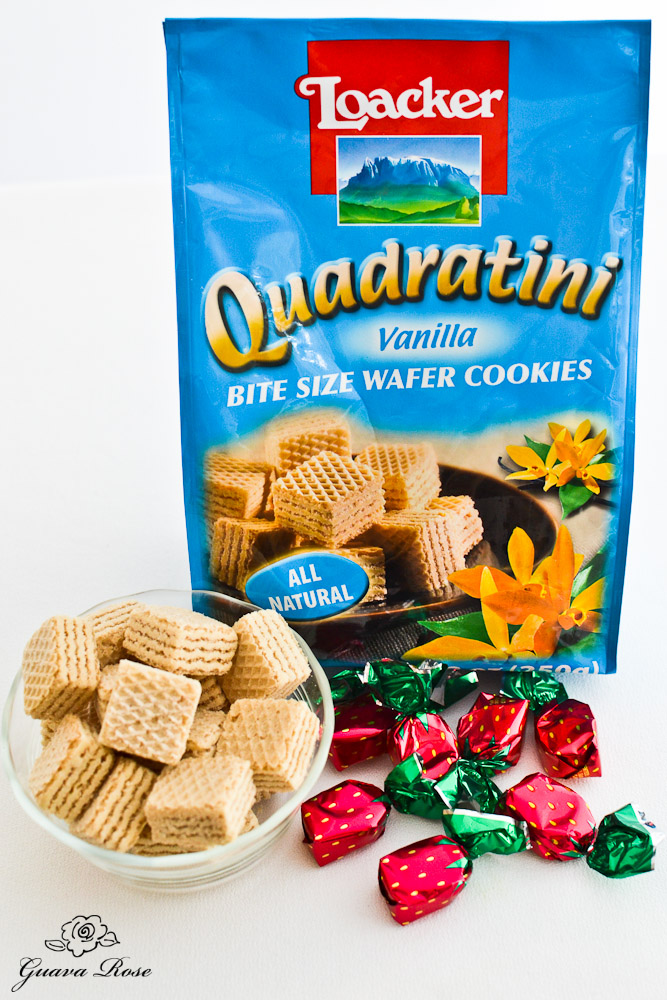 Quadratini wafer layered cookies and strawberry candies