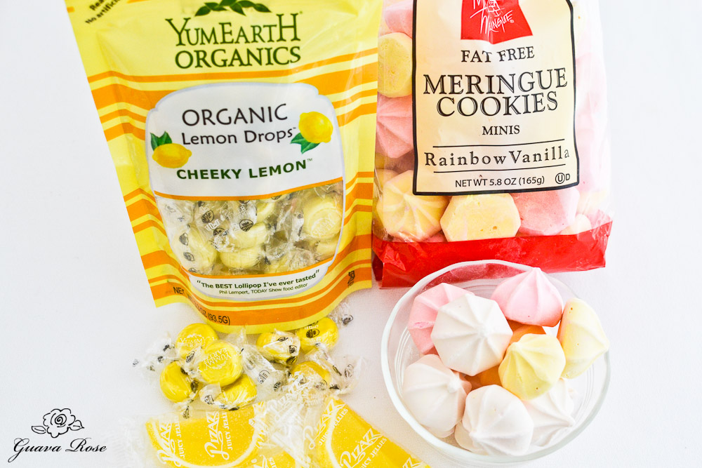 Lemon candies and mini meringues