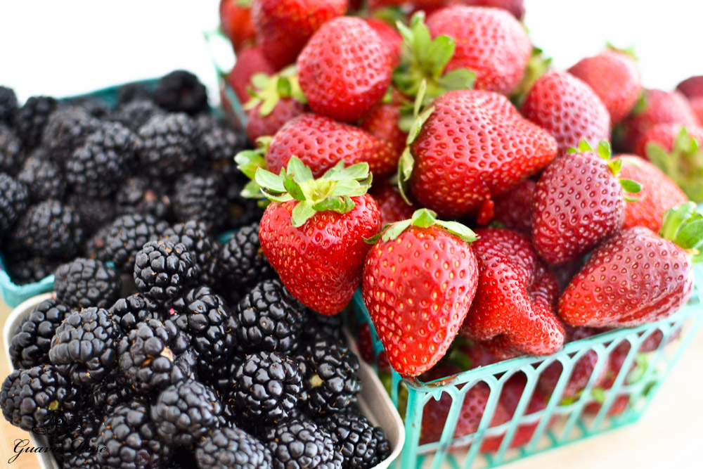 Fresh blackberries and strawberries