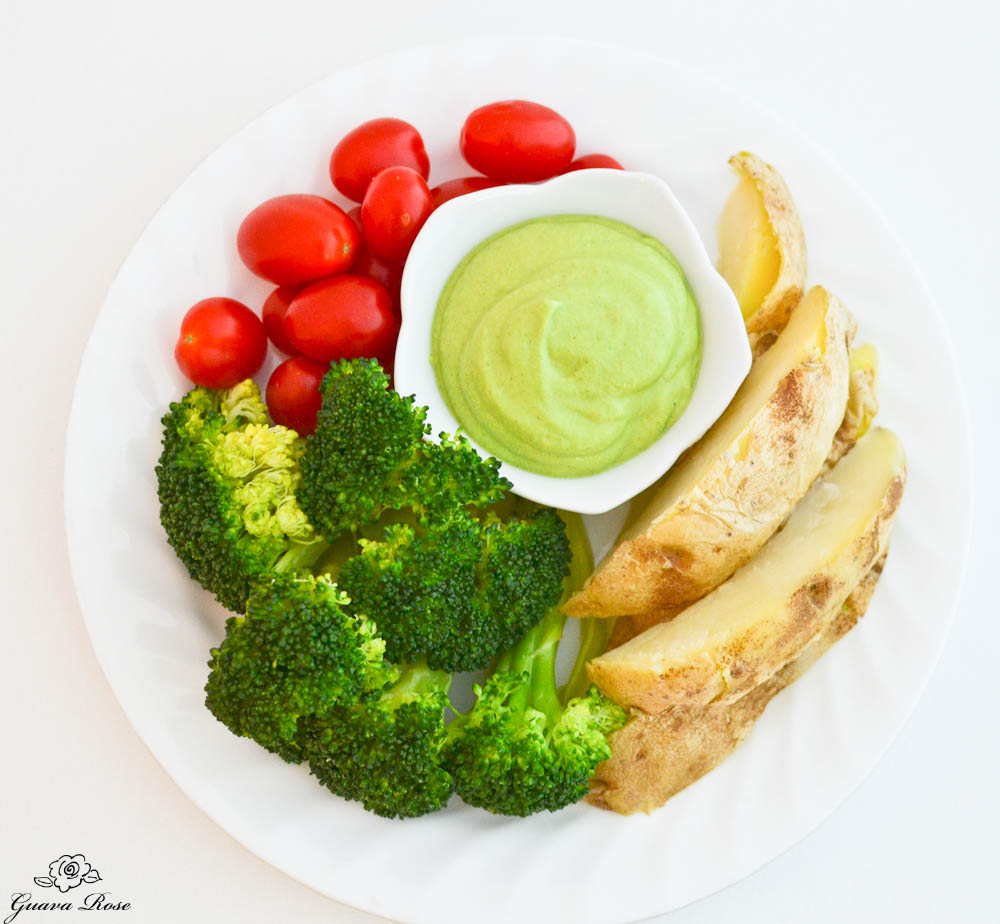Avocado Cilantro Chili Dip with Veggies, top view