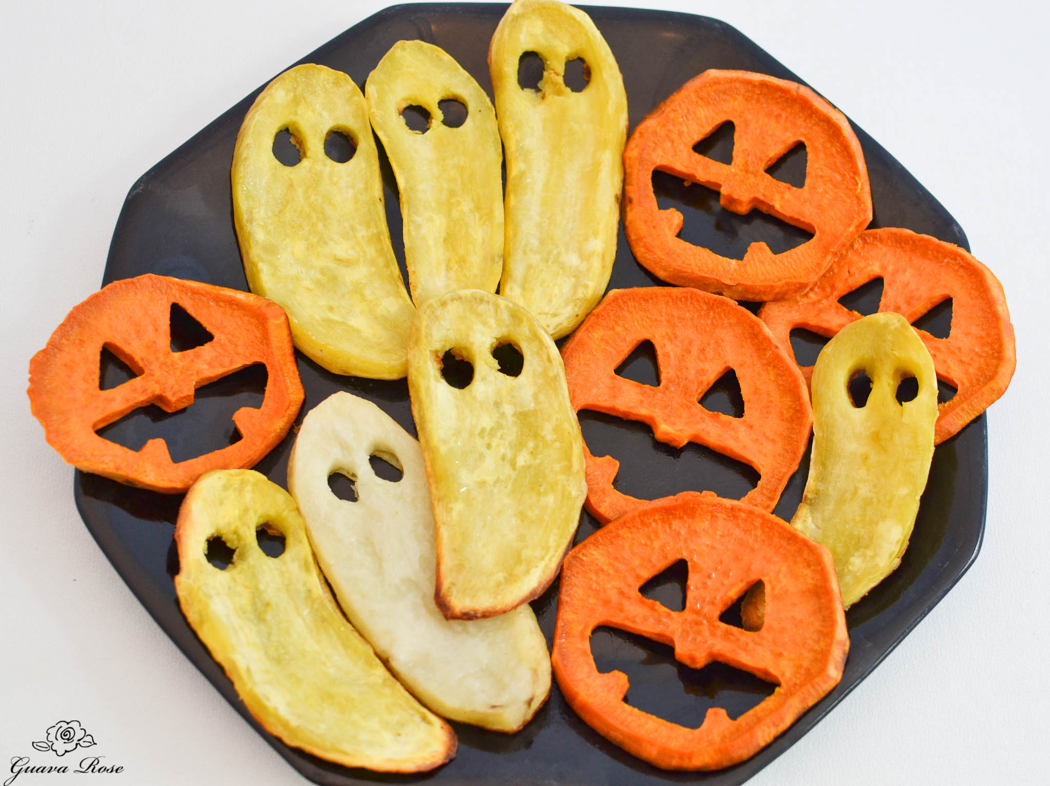 Roasted Sweet potato jack-o-lanterns and ghosts, topview