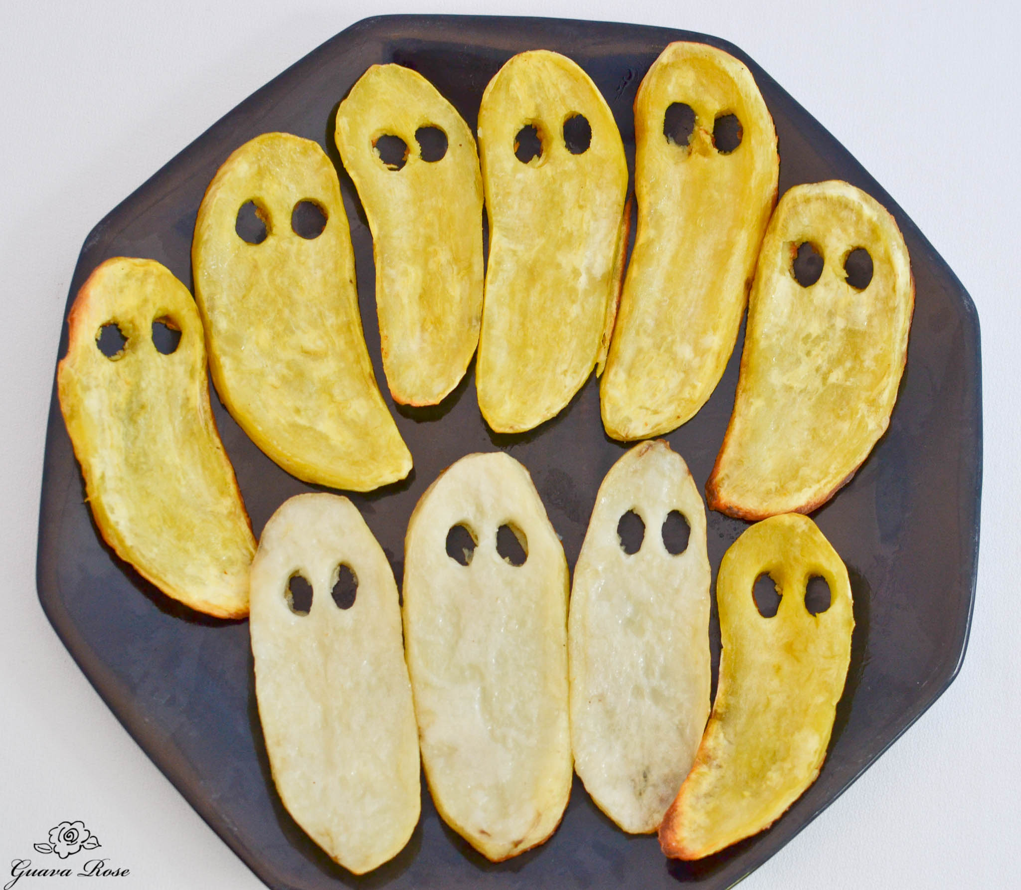 Roasted Sweet potato and russet potato ghosts