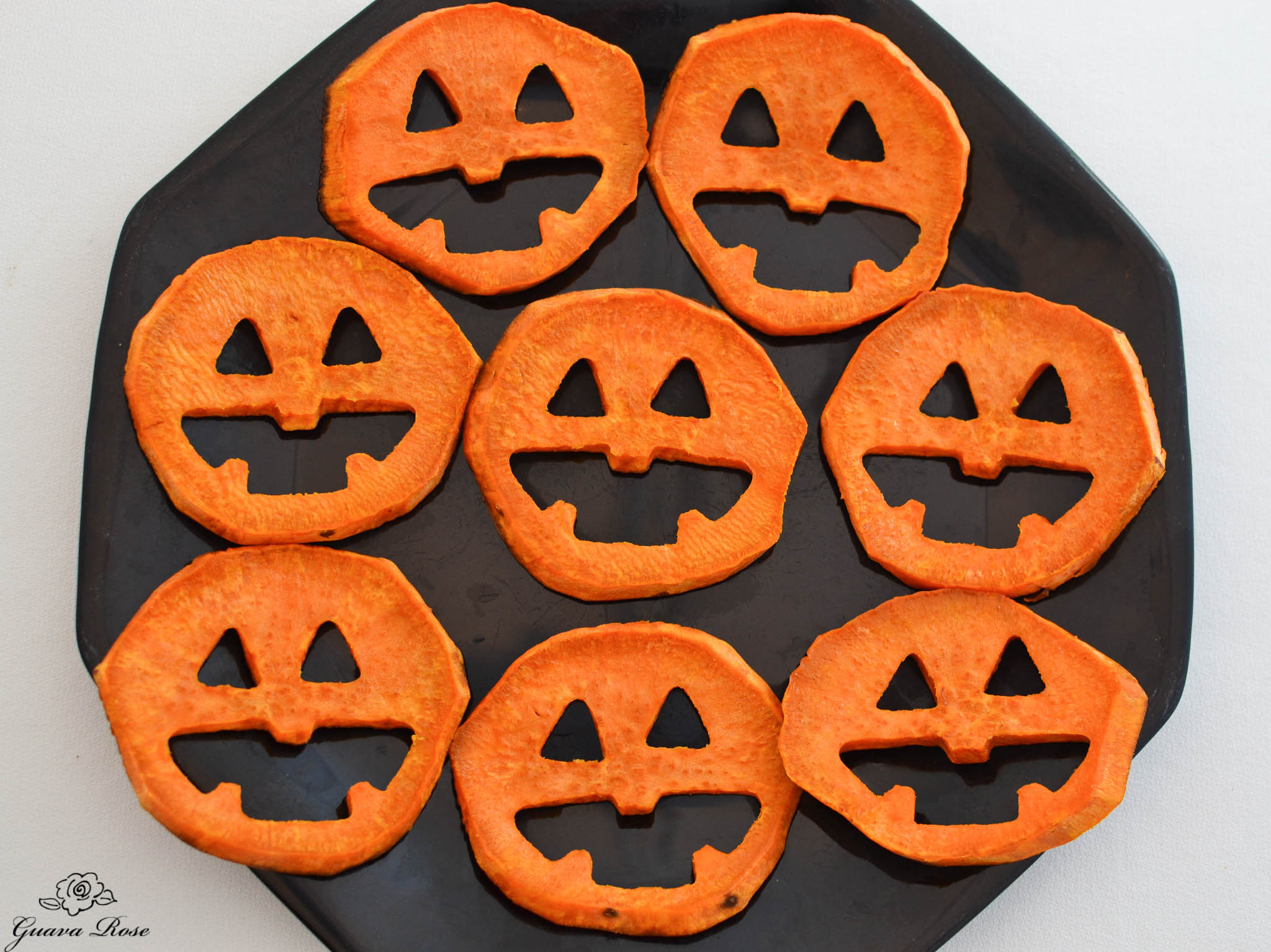 Roasted Sweet potato jack-o-lanterns