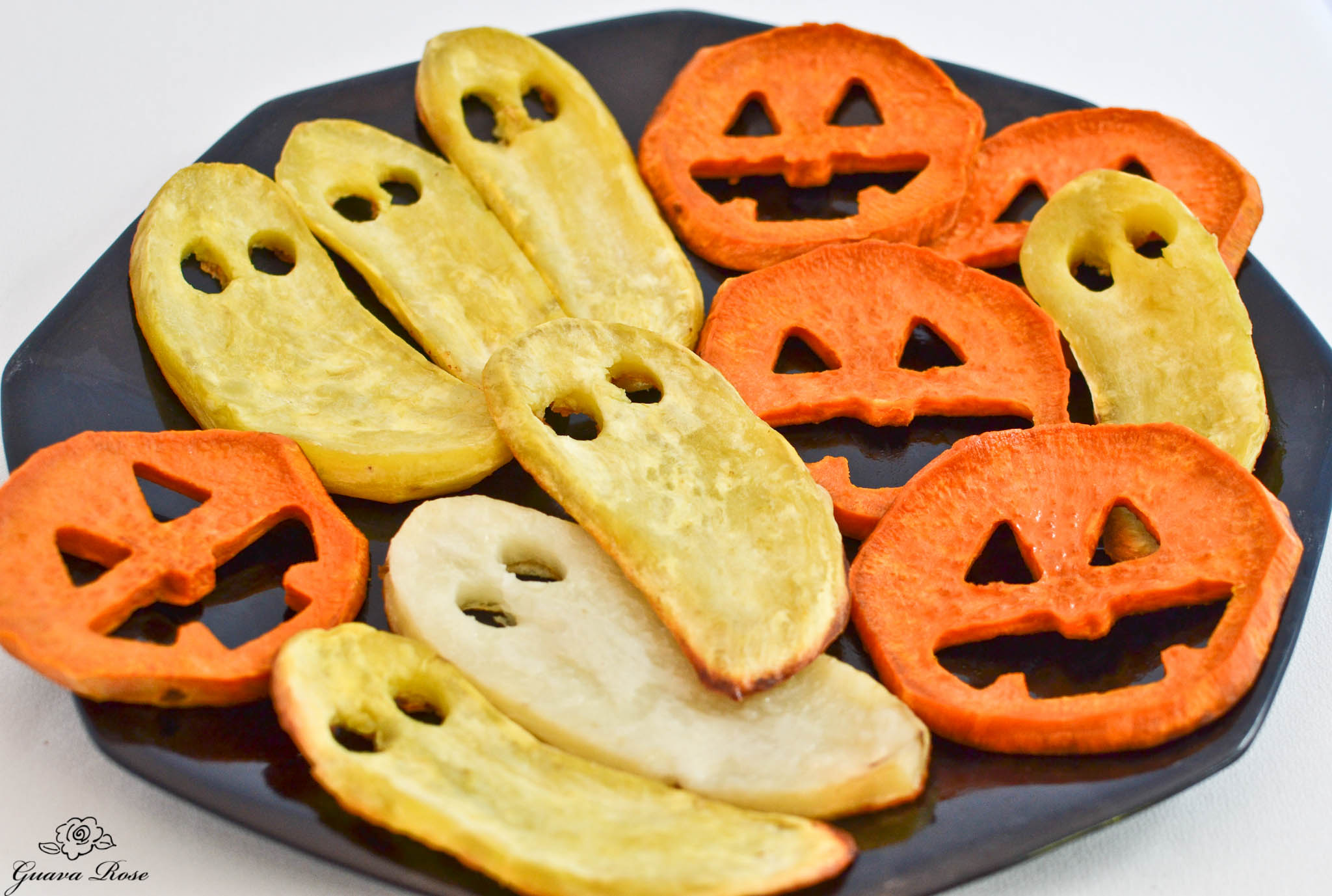 Roasted Sweet potato jack-o-lanterns  and ghosts