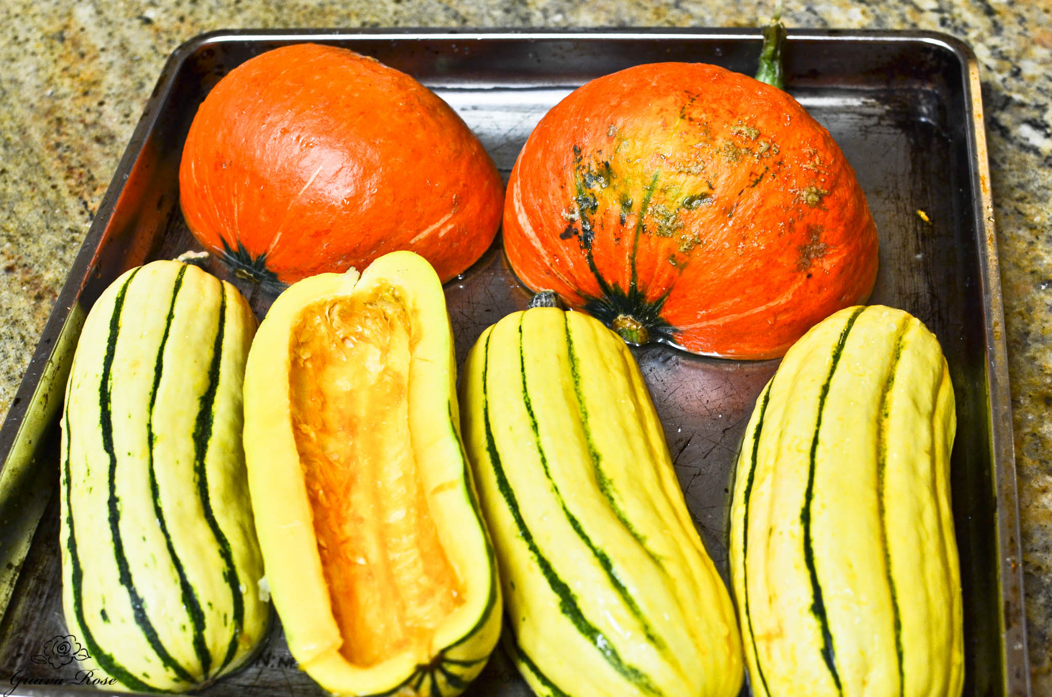 Cut and cleaned kabocha and delicata