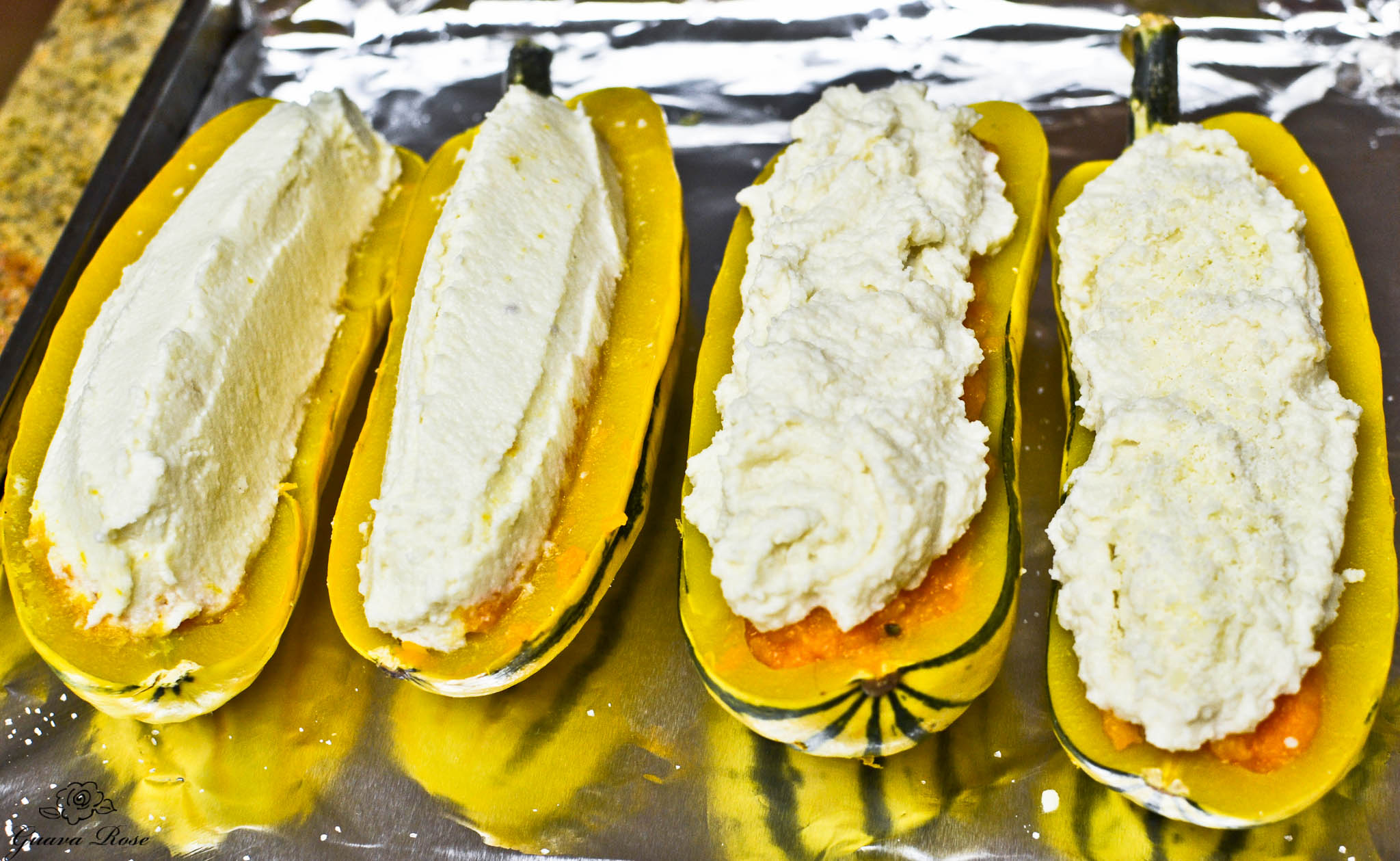 Delicata filled with Butternut, topped with Cauliflower