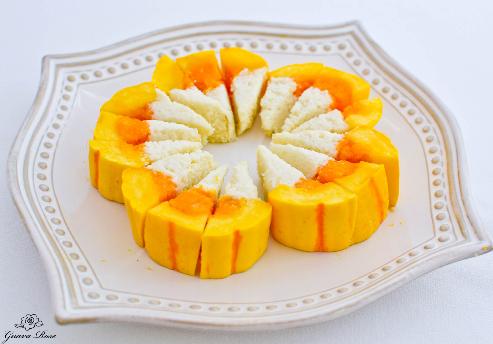 Candy Corned Squash (Delicata, Butternut, and Cauliflower) slices cut into pieces