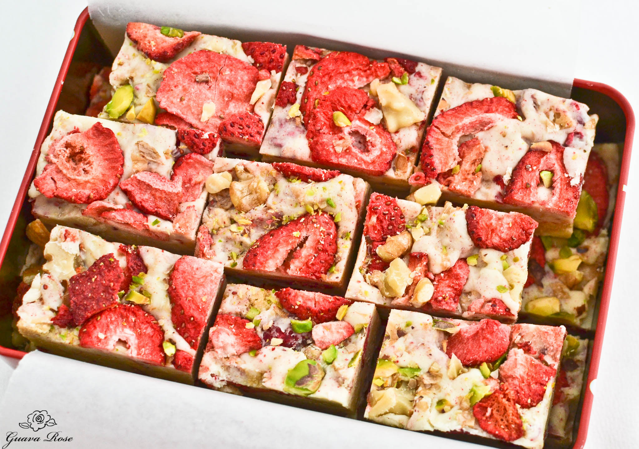 Holiday Fruit and Nut Fudge pieces in tin, angled