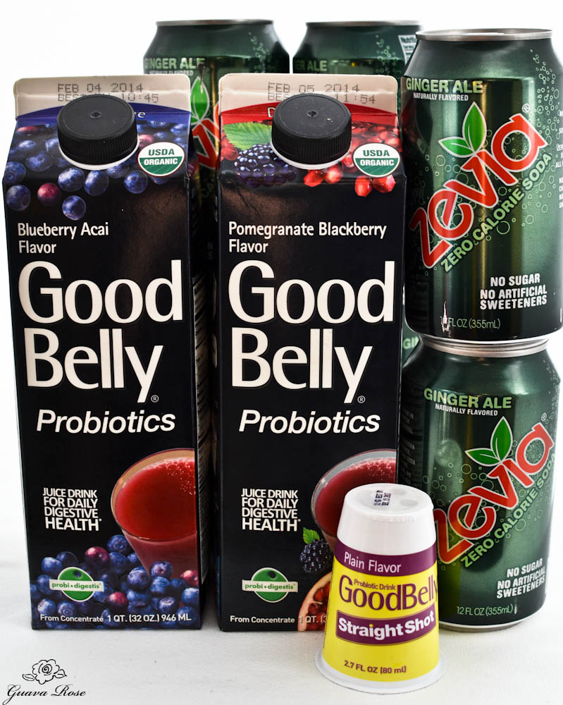 Good Belly Probiotic drinks, Zevia ginger ale