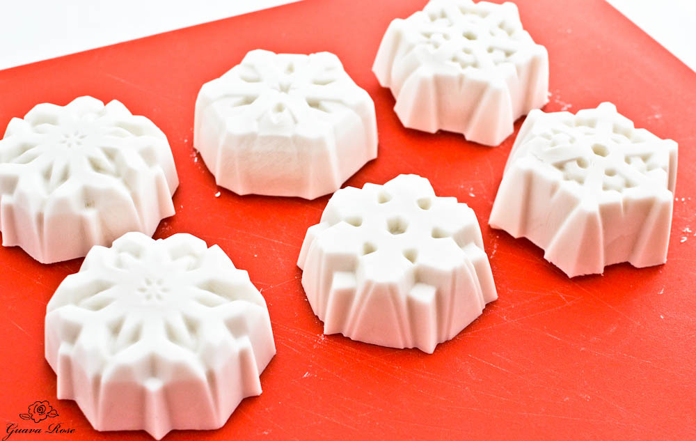 Frozen coconut milk snowflakes