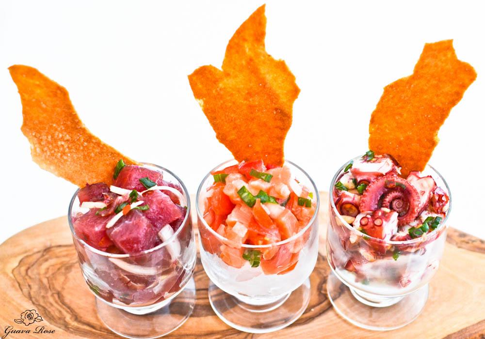 Ahi poke, Lomi lomi salmon, Tako poke with pa'i'ai crackers 2